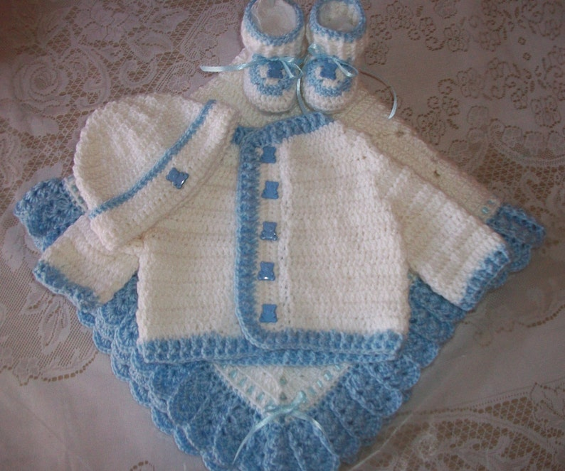 15594c7b991c Crochet Baby Boy Sweater Set Layette Perfect For Baby Shower