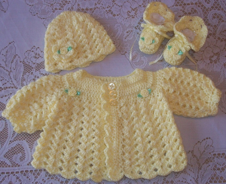 185dbdfe2c51 Crochet Baby Girl Sweater Set Layette For Take Me Home Shower