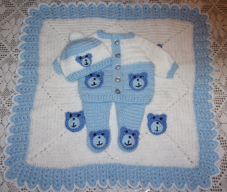 811e5bd2e Crochet Baby Boy Teddy Bear Sweater Set Layette Outfit With | Etsy