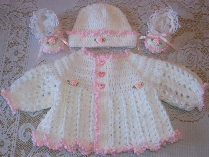 dd5512642d5c Crochet Baby Girl Pink and White Sweater Set Layette For Take