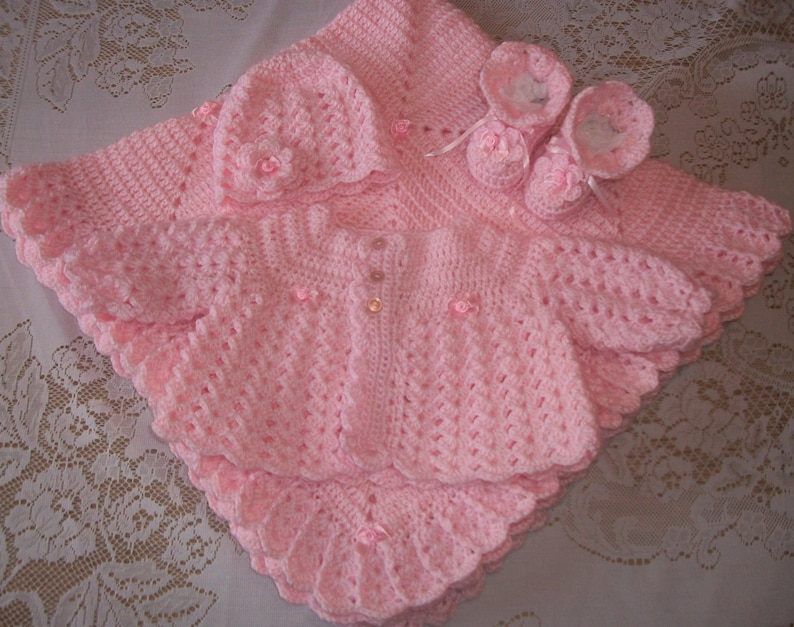 c00970198 Pink Crochet Baby Girl Sweater Set Layette Perfect For Baby