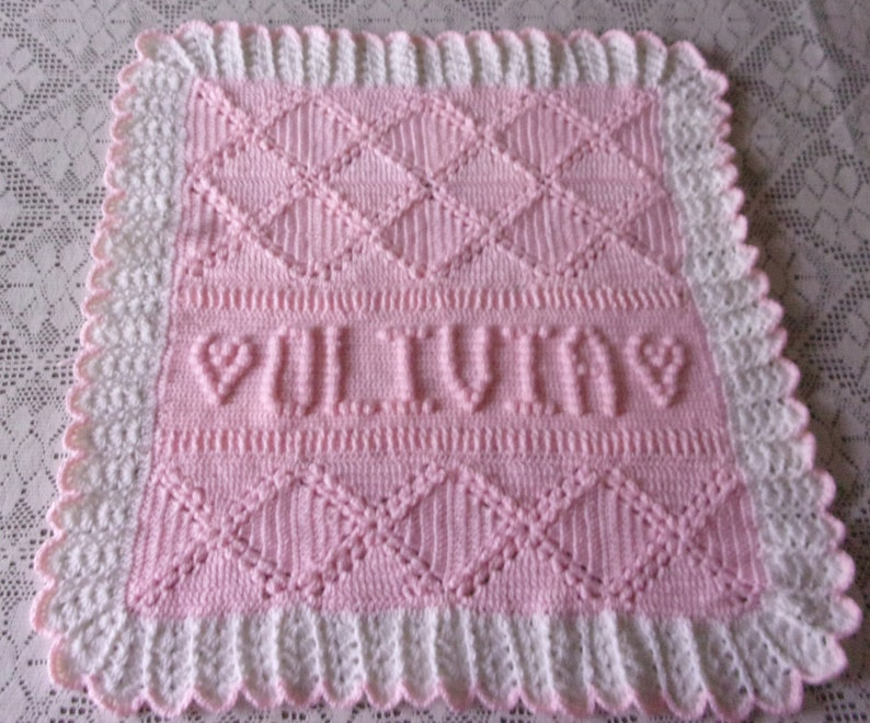 Personalized Crochet Baby Blanket Afghan Name Date For Etsy
