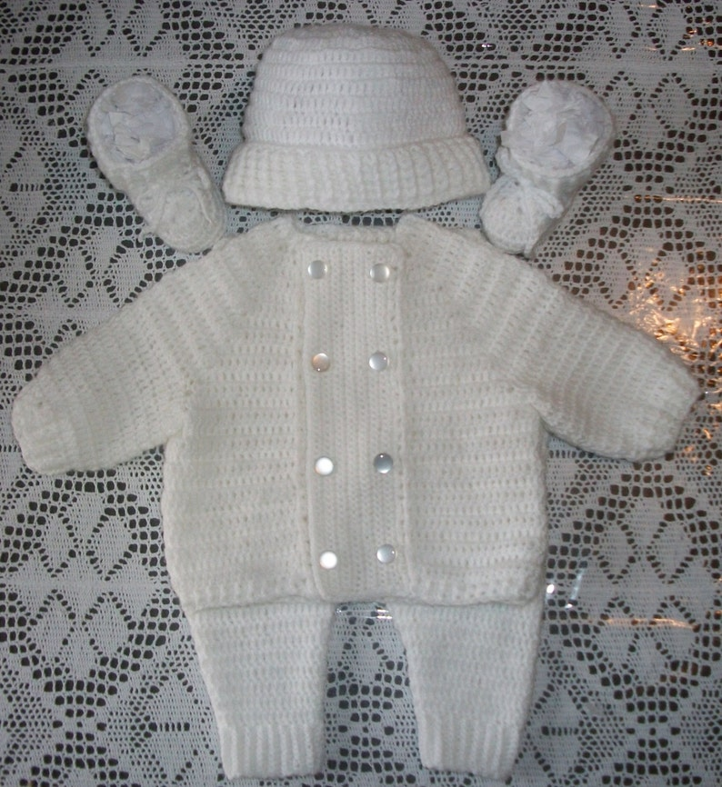 5b74473505c622 Crochet Baby Boy White Sweater Leggings and Booties Layette | Etsy