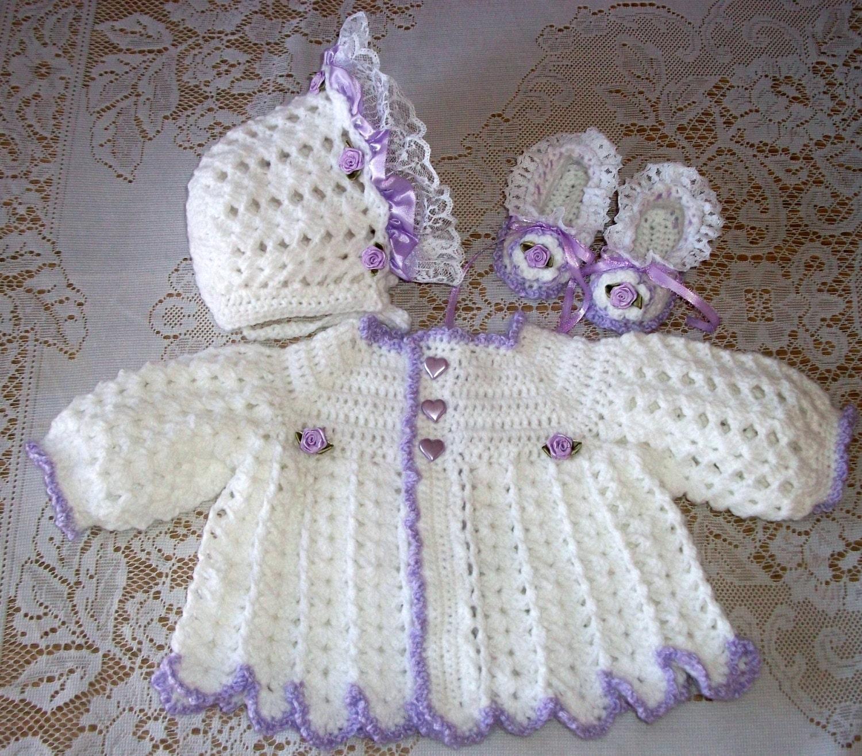 Crochet bebé niña Jersey Set Capo y patucos en blanco y | Etsy