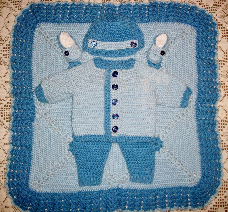 2b2ab2a2ebd2 Crochet Baby Boy Layette Sweater Set With Leggings Cap