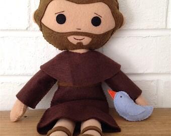 Catholic Doll - Saint Francis - Wool Felt Blend - Catholic Toy - Felt Doll