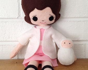 Catholic Toy Doll - Saint Gianna - Wool Felt Blend - Catholic Toy - Felt Doll