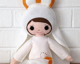 Catholic Toy Doll - Our Lady of Fatima - Wool Felt Blend - Catholic Toy - Felt Doll
