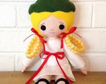 Catholic Felt Saint Doll - Saint Lucia - Wool Felt Blend - Catholic Toy - Felt Doll