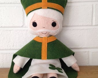 Catholic Doll - Saint Patrick - Wool Felt Blend - Catholic Toy - Felt Doll