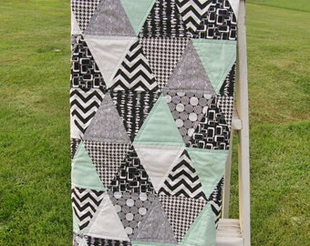 Mint and Black & White Print Triangle Quilt for Baby Boy or Girl