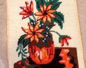 Large stitch needlepoint yarn mid century modern orange floral cottage chic stitchery