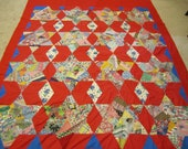 Large Crazy Star pattern light weight quilt patchwork red bright colors