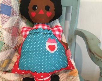 Decorative vintage fabric pillow black eyed susan rag doll