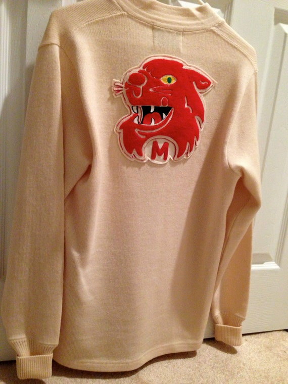 1960s Varsity LETTERMAN sweater with wild cat on t