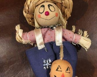 "Cute little ornament scarecrow ornament halloween  Halloween Ornament  4"" vintage"