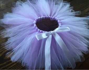 Lavender and White Tutu, White Bow, Newborn Tutu, Tulle, Winter