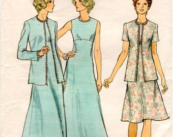 f1d4c4411b09 Vintage Vogue Pattern 8868 - Misses Shaped Jacket   Fitted and Slightly  Flared Dress w High Waistline and Jewel Neckline - Size 12