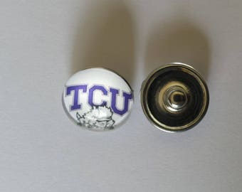 TCU Texas Christian University Horned Frogs Inspired Snap Charm - Ginger Snap - Noosa Snap - Chunk Snap