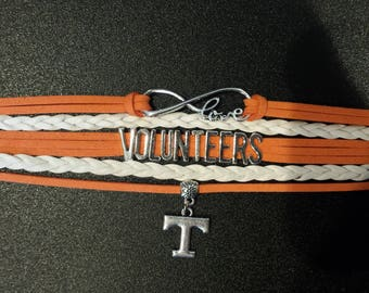 University of Tennessee Bracelet, Tennessee Bracelet, Infinity bracelet, Boho Wrap bracelet, Tennessee Wrap Bracelet, with a Charm