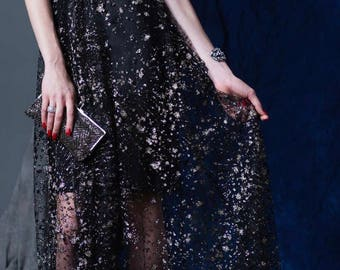 Black with Silver Glitter Evening Gown