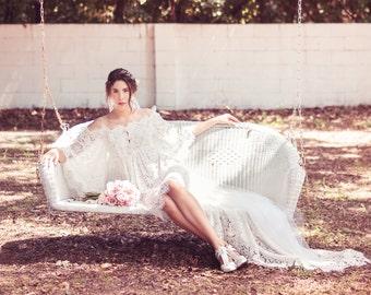 Empire Waist High Low Wedding Dress (Sample Sale)