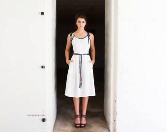 White Dress - Four Pleat Dress With Back Flounce (Sample Sale)
