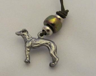 Pewter Greyhound Charm Necklace Benefit Sale