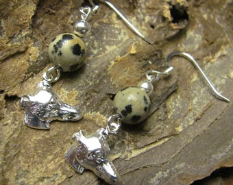 Dalmatian Jasper Greyhound Earrings Benefit Sale