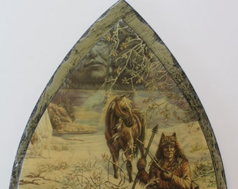 Vintage Native American Arrowhead Wooden Wall Clock Made in USA