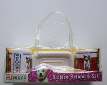 Vintage NEW Wishbone The Dog Three Piece Bathroom Set 1996