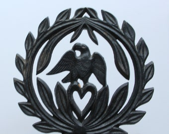 Vintage Cast Iron Eagle Kitchen Trivet 1970s