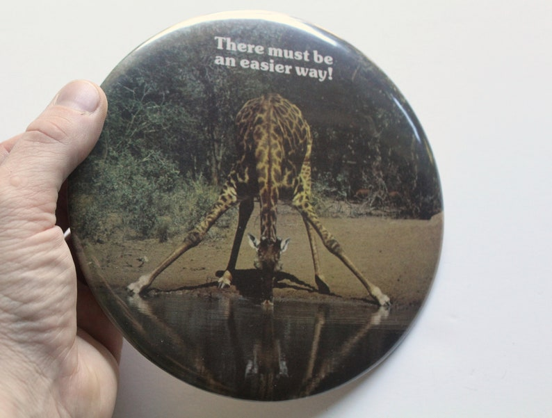 Vintage Springbok Giraffe There Must Be An Easier Way Button Pin 1980s