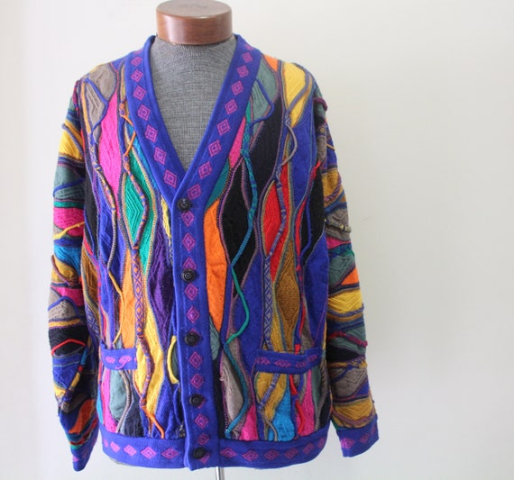 Vintage Men's Wool Multicolor Coogi Button Up Card
