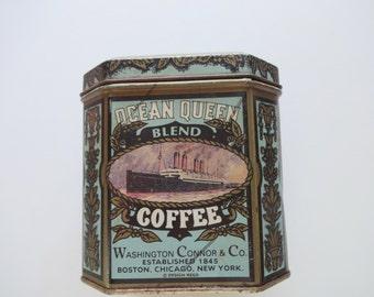 Vintage Metal Ocean Queen Coffee Tin