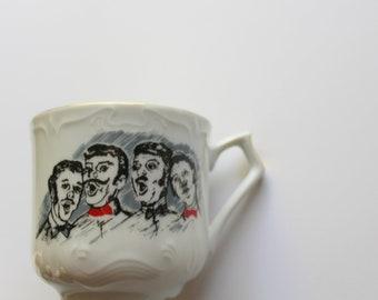Vintage Viletta's Arts Barbershop Quartet Mustache Coffee Mug 1960s