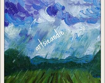 Rain- original oil painting print