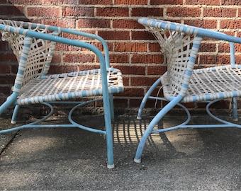 Mid century modern mod aluminum woven lounge chairs designer Frinier Kantan Brown Jordan 195Ou0027s & Jordan chair | Etsy