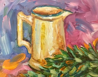 """French country water pitcher is an original oil painting on a 4"""" gesso board"""