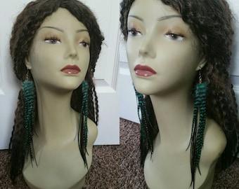 Sea foam green long feather earrings