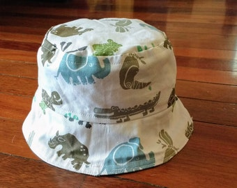 50698ea0545 Reversible Jungle Animals Toddler Baby Sun Hat (4 child baby sizes  available)