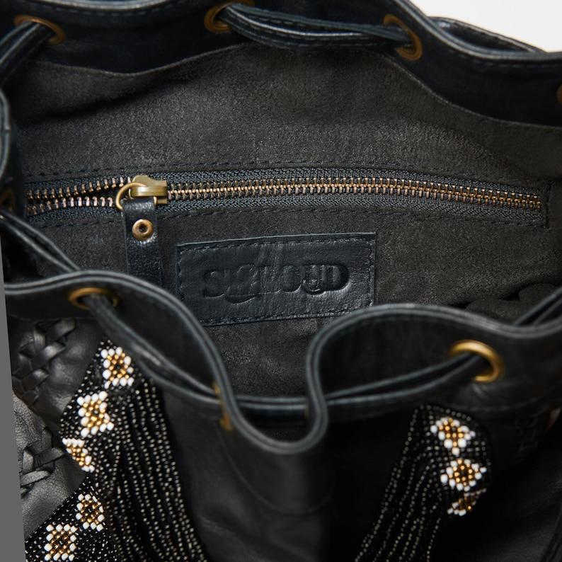 Large Beaded Leather Bucket Bag