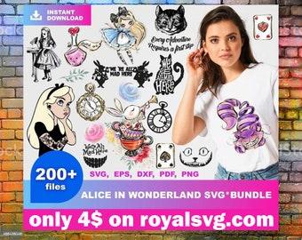 ALICE IN WONDERLAND svg bundle +200 alice in wonderland svg designe digital download