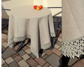 Square Tablecloth Natural Gray White Vintage Tablecloth Linen Tablecloth Burlap Tablecloth Washed Linen 85 x 86