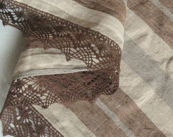"""Brown Linen Tablecloth Natural Gray Beige Washed Linen Striped Tablecloth Christmas Tablecloth Linen Lace 98"""" x 58"""""""