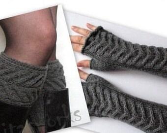 "Fingerless Gloves Long Dark Gray 14"" Mittens Arm Warmers Acrylic"