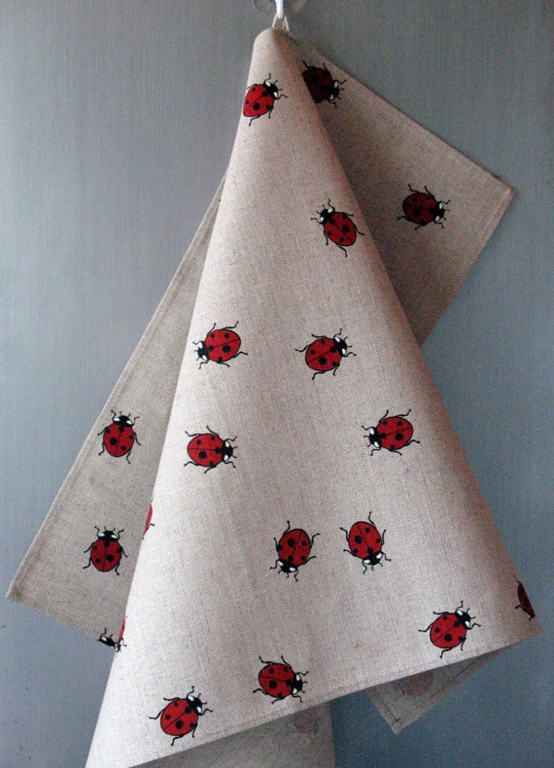 Linen Kitchen kit for women Valentines Day Easter Oven Mit Natural Gray Ladybug Red Black
