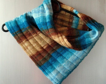 Infinity Scarf Cowl Wrap Turquoise Azure Blue Beige Brown Green Striped