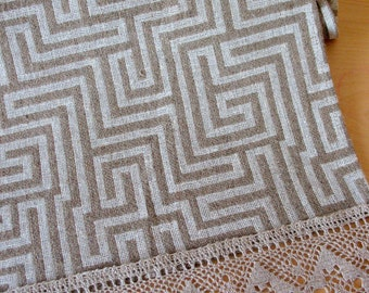 """Linen Table Burlap Runner Tablecloth Natural White Gray Striped Linen Lace 74"""" x 17"""""""