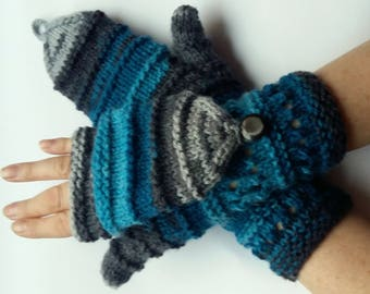 Mittens Fingerless Gloves Convertible Mittens Gray Blue Arm Warmers Knit Soft